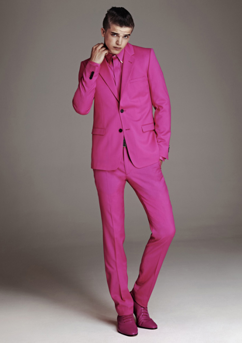 Versace for H&M, Pink Suit, Versace, H&M,