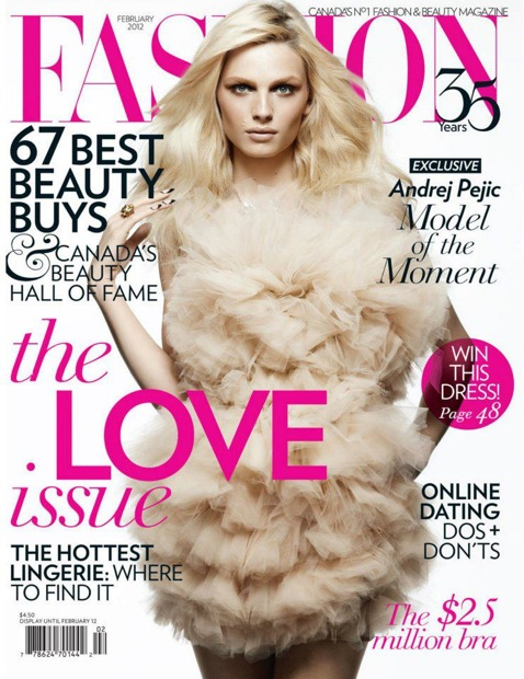 Andrej Pejic,Fashion Canada, February, 2012, cover shot, Androgynous,