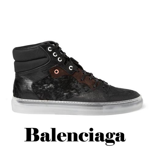BALENCIAGA Leather and Fabric High Top Sneakers, BALENCIAGA, Leather,Fabric, High Top, Sneakers
