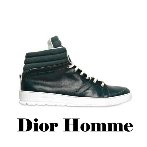 DIOR HOMME Canvas and Calfskin High Top Sneakers, DIOR HOMME, Canvas,Calfskin, High Top, Sneakers