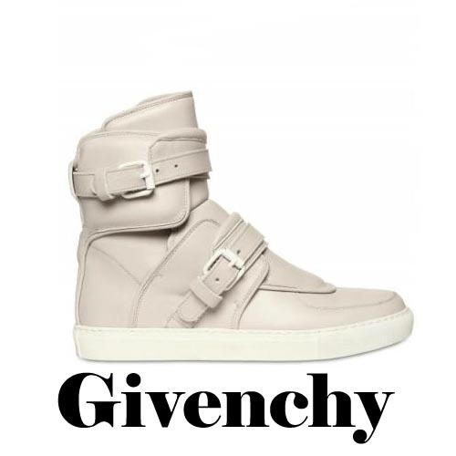 GIVENCHY Buckled Leather High Top Sneakers, GIVENCHY, Buckled, Leather, High Top, Sneakers