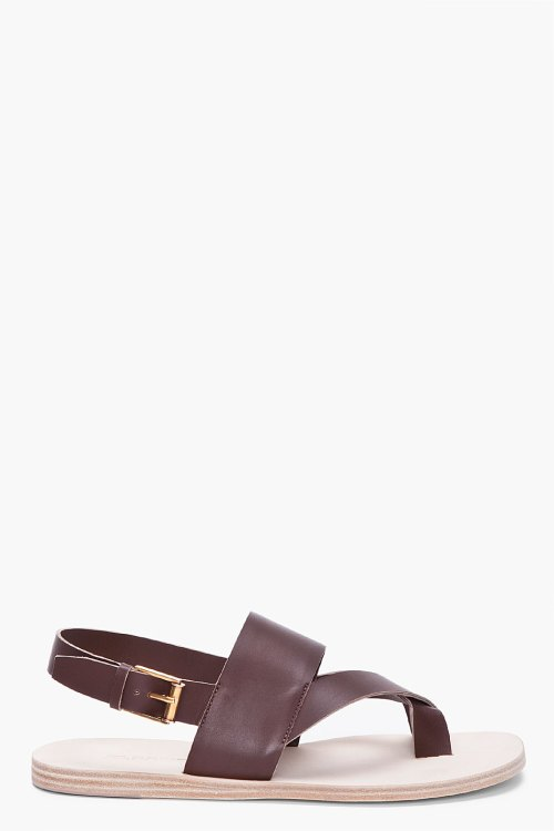 Jil Sander Dark Brown Safari Sandals