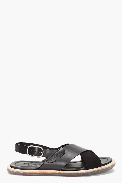 Yves Saint-Laurent Black Leather Sandals