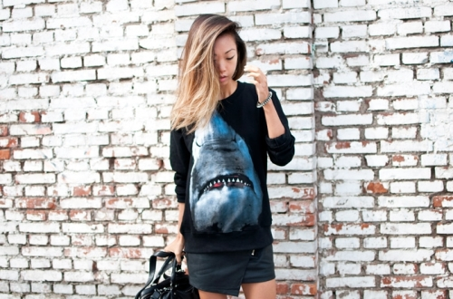 Haute Pursuit wearing Shark Sweater