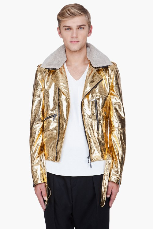 John Galliano Gold Leather Jacket