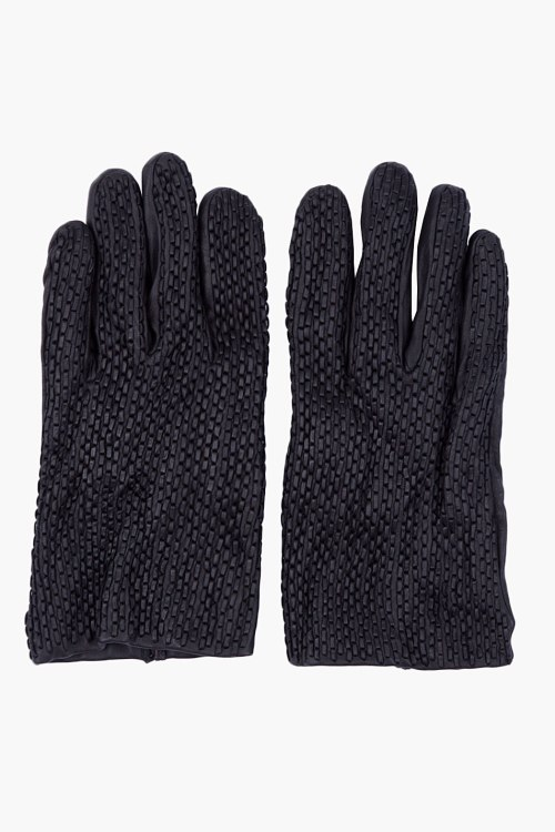 Lanvin, black, braided, leather, gloves