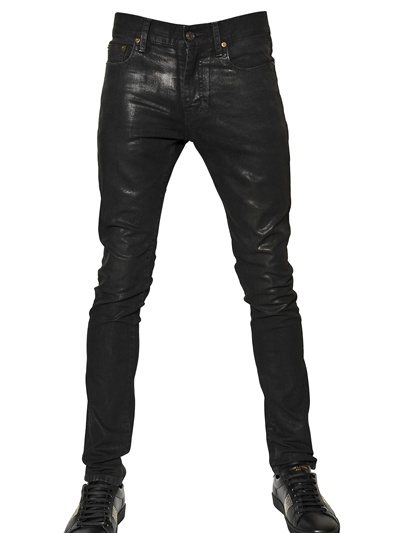 Saint Laurent Paris Leather Effect jeans