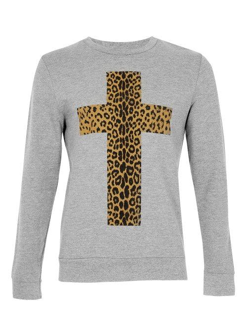 Topman, Sweater, menswear, leopard print, cross, leopard