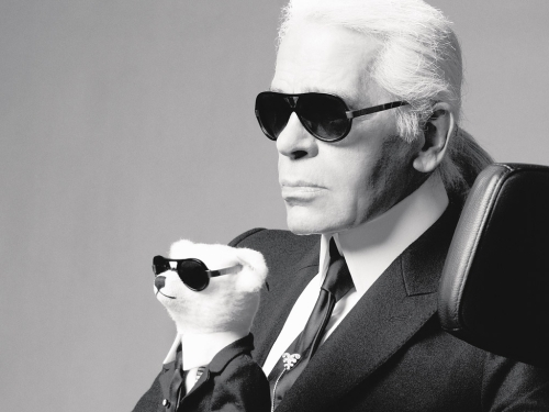 Karl Lagerfeld, teddy bear, glasses